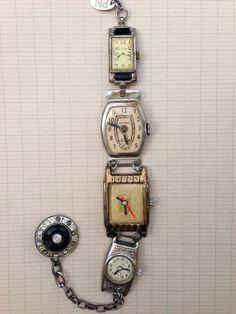 Paula Montgomery Ladies Toy Watch Repurposed Bracelet - vintage repurposed bracelet made with toy watches, vintage toy watch bracelet, one of a kind bracelet by LavenderM