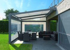 terrassen überdachung metall folie windschutz aluminium sitzbereich