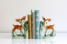 Vintage Ceramic Deer Book Ends
