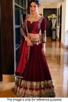 Buy online maroon colored bridal lehenga choli at lowest price. This bridal lehenga choli is prettified with attractive patterns of lace and stone. Indian Bridal Wear, Indian Wedding Outfits, Bridal Outfits, Indian Outfits, Bridal Dresses, Indian Reception Outfit, Indian Wedding Receptions, Bride Indian, Indian Weddings