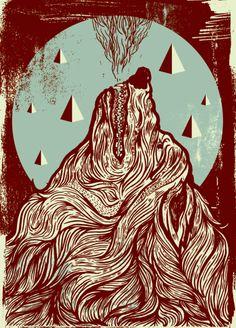 Lobos y triangulos. Ilustración modernilla de Dustin Holmes. Esa textura ahí, bien.
