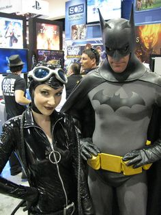 Batman and Catwoman cosplayers