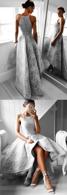 High Low Homecoming Dress,Light Grey Homecoming Dress,Lace Homecoming Dress,Elegant Homecoming Dress,Spaghetti Straps,Cheap Homecoming Dress,Fashion Prom Dress