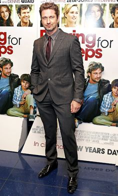 "Hollywood's Most Stylish Leading Men - Gerard Butler: he does spiff up nicely doesn't he? In ""real life"" though, he has hot mess, schlub-chic down to a science. Luckily he rocks either way.   ;-D"