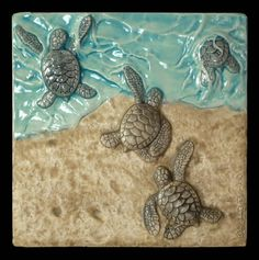 Sculpture ceramic tile Baby green sea by MedicineBluffStudio, $64.00