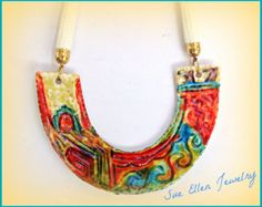 Boho necklace Handpainted polymer clay gift for her statement necklace, bib necklace, ethnic tribal multicolor necklace,OOAK