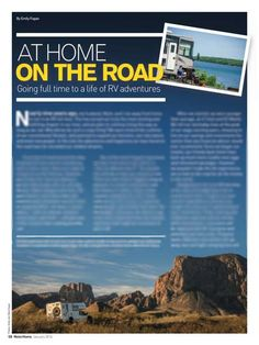 Motorhome Magazine At Home on the Road by Emily Fagan. More info here: http://roadslesstraveled.us/fulltime-rv-tips-rv-tech-tips-motorhome-and-trailer-life-magazine/