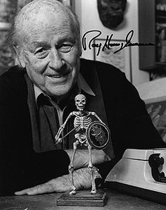 Ray Harryhausen with warrior skeleton. Before CGI, long before, there was only Harry.