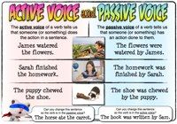 """A poster and activity sheet - active & passive verbs. Remember the zombie rule for testing for passive verbs. If you can say """"by a zombie"""" after the verb and it makes sense, it's passive. Get rid of it, and use an active verb instead! Active And Passive Voice, Active Voice, 8th Grade English, High School English, English Vinglish, English Class, Teaching English Grammar, Grammar Lessons, Grammar Worksheets"""