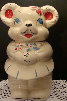 She/He Turnabout Bear Cookie Jar by American Bisque in the Bear Cookies, Spice Grinder, She & Him, Vintage Cookies, We The Best, Cookie Jars, Conversation, Pictures, Photos