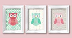 Hooty owl little owls modern nusery baby by RainbowsLollipopsArt, $22.00