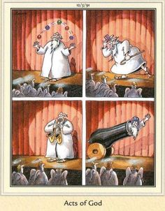 """Religious humor """"The Far Side"""" by Gary Larson. Far Side Cartoons, Far Side Comics, Religious Humor, Atheist Humor, Gary Larson Far Side, Gary Larson Cartoons, Funny Vintage Ads, Bible Humor, Calvin And Hobbes Comics"""