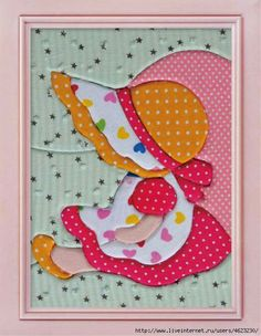 Patchwork Picture Kit Cute Girl in Pink Yellow by Patchwork Quilting, Applique Quilts, Embroidery Applique, Sewing Appliques, Applique Patterns, Applique Designs, Quilt Patterns, Sunbonnet Sue, Quilting Projects