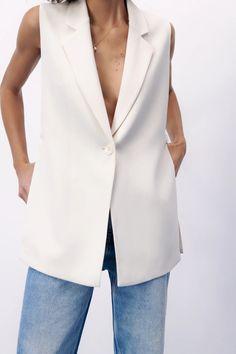 Zara Outfit, Vest, Neckline, Blazer, Jackets, Outfits, Style, Fashion, Buttons