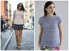 New street style: A light knit top over a print skirt and flat sandals is a great casual option for a hot day! Pattern (right) is the Marian Top in Filatura di Crosa CRISTALLO.   (Inspiration photo, left, from popsugar.com.)