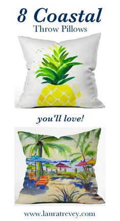 Shop these 8 coastal throw pillows to bright up your beach house or tropical inspired room.
