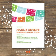 Rehearsal Dinner Invitation Fiesta Wedding DIY by PaperFoxDesign