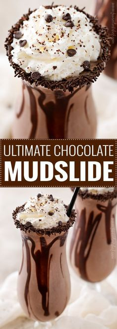 The Ultimate Frozen Chocolate Mudslide   Thick, rich, and delicious this mudslide recipe is made extra chocolatey with the addition of some chocolate vodka, creme de cacao, and chocolate ice cream! There's nothing better than a boozy milkshake!   The 5 o'clock Chef   #milkshake #boozymilkshake #adultmilkshake #mudslide #mudsliderecipe #chocolaterecipes