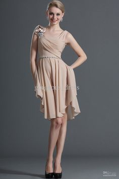 Wholesale Evening Dresses - Buy Scoop Neckline Short Bridesmaid Dresses Ruffle Chiffon Cheap Bridesmaid Dresses Cheap Cocktail Dresses Ruffle Beads, $93.18 | DHgate