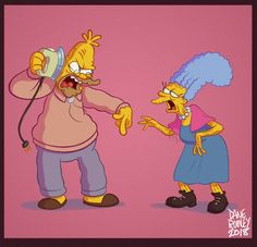 Here's another entry into my Simpsons Dane style, Grampa Simpson and Grandma Bouvier. Simpsons Drawings, Simpsons Art, Cartoon Sketches, Cartoon Art, Cartoon Characters, Art Sketches, Bart And Lisa Simpson, Los Simsons, Character Concept