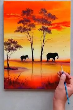 Canvas Painting Tutorials, Painting Techniques, Watercolor Techniques, Beginner Painting On Canvas, Scenery Paintings, Landscape Paintings, Sunset Paintings, Art Painting Gallery, Painting Art