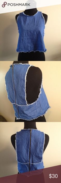Zara Jean crop top NWOT! This top is so adorable it is a light weight Jean. With distressed hem. Zips down back Zara Tops Crop Tops