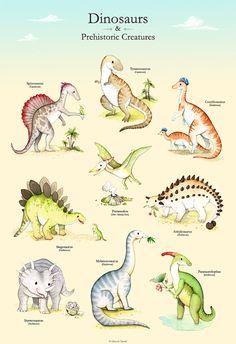 Dinosaur poster, Illustrated dinosaur poster, Boys room, T-rex, boys nursery, Watercolor dinosaur, Dinosaur print, Dinosaur wall art