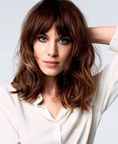 long bob with bangs.