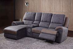 LENAIC - Salon en tissu ultra-confortable avec possibilité d'y intégrer des relax électriques. Vous pouvez en plus choisir pour un élément avec console musicale, telecommande frigo et gobelet. A ne pas rater   Meubles Toff