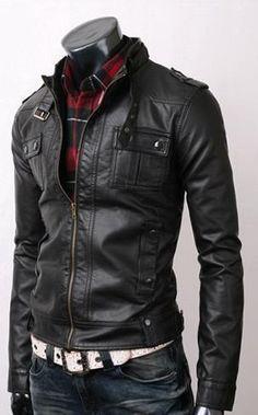 Vintage Biker Belted Rider Strap Pocket Fine Quality Slim Fit Leather Jacket   eBay