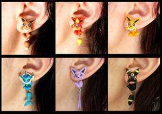 Eeveelutions earrings inspired in Pokemon. by TroppaMangaStyle