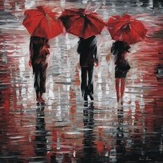 'Three Red Umbrellas' reproduction by Leonid Afremov  <<>> (rain, rainy day, storm, weather)