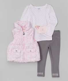 Love this Pink Floral Puffer Vest Set - Infant, Toddler & Girls by Kids Headquarters on #zulily! #zulilyfinds