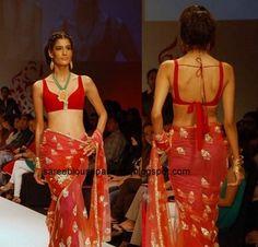 Saree Blouse Patterns: Malini and Vijay Pink Georgette Saree at Pune Fashion Week