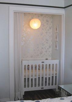Nursery, Small Space, Wallpaper, Small Crib, Framed Art, Light, White Colors