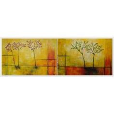 Blooming Flower Trees - 2 Canvas Set Oil Painting 24 x 72 inches