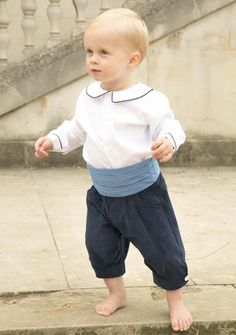 Baby Page boy Outfit by Amelia Brennan - including peter pan collar shirt with navy piping, blue silk cummerbund and navy needlecord knickerbockers #pageboy #pageboys