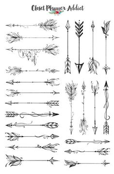 Boho Arrows Planner Stickers Ornamental arrows Stickers arrows Black and white stickers Journaling Stickers Monochrome S 263 Feather Arrow Tattoo, Simple Arrow Tattoo, Arrow Tattoo Design, Feather Tattoos, Arrow Design, Watercolor Arrow Tattoo, Geometric Arrow Tattoo, Indian Arrow Tattoo, Arrow Tattoo Foot