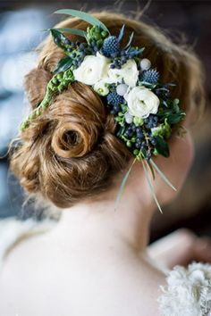 bridal floral headpiece with privet berries - brides of adelaide