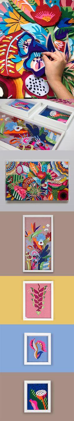 """""""Tropicaliente""""- todos.  Composição de feltro por Lhama  Felt collage by Lhama www.lhama.net"""