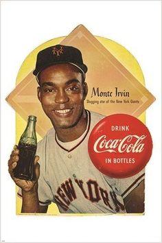 1954 MONTE IRVIN new york giants COCA COLA VINTAGE ad poster BASEBALL 24X36
