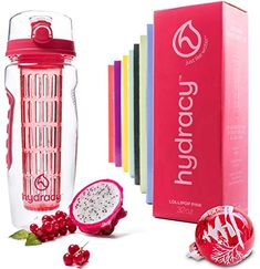 Hydracy Fruit Infuser Water Bottle - 32 Oz Sport Bottle with Full Length Infusion Rod and Insulating Sleeve Combo Set + 27 Fruit Infused Water Recipes eBook Gift - Your Healthy Hydration Made Easy Infused Water Recipes, Fruit Infused Water, Infused Water Bottle, Water Bottles, Daily Water Intake, Filtered Water Bottle, Touch Lamp, Fruit Infuser, Mother Day Gifts
