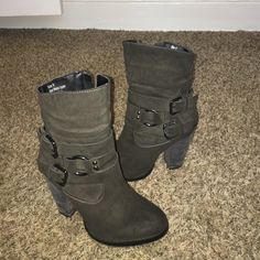 Genuine suede Heeled boots Charcoal colored healed boots. Genuine suede. Size 6. Only worn a couple times. Dark silver buckles on the side. Penny loves Kenny brand Penny kenny Shoes Heeled Boots