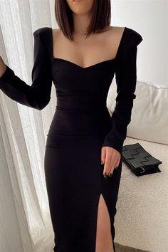 Winter Formal Dresses, Black Party Dresses, Elegant Black Dresses, Party Dresses For Women, Dance Dresses, Sexy Dresses, Fashion Dresses, Stylish Dresses, Classy Dress