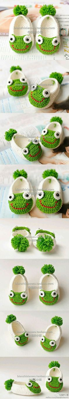 Handmade baby shoes for baby gifts are easier than you think. You can create a nice one with a crochet hook and some yarn! If you love crocheting, here is a pic Love Crochet, Crochet For Kids, Diy Crochet, Crochet Crafts, Yarn Crafts, Crochet Projects, Crochet Frog, Diy Crafts, Crochet Baby Booties