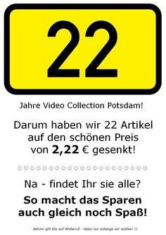 22 Jahre VCP! Unsere 2. Aktion - für den großen Appetit! ★★★★★★★★★★★★★★★★★★★★★★★★★  #22Jahre #Jubilaeum #Aktion #Angebot #VideoCollection #VCP #VideothekPdm #Videothek #Potsdam