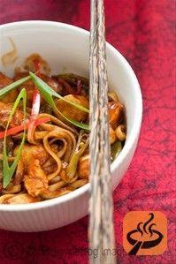 Sticky lemon and chili chicken noodles recipe