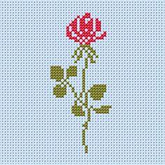 motif--Fleurs Point de croix-Rose ouverte