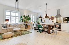Old Meets New In Stockholm Apartment Design | DigsDigs { open floor plan in this apartment, light walls/floors, industrial yet personable kitchen...and the mismatched chairs are unique :-) go to the link and take the tour! }