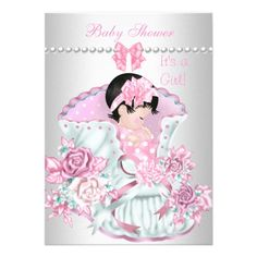 Vintage Pretty Baby Shower Cute Girl Pink Personalized Announcement